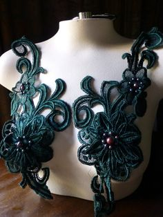Beaded Lace Applique Pair in Forest Green for Garments,  Costume Design PR 65fg