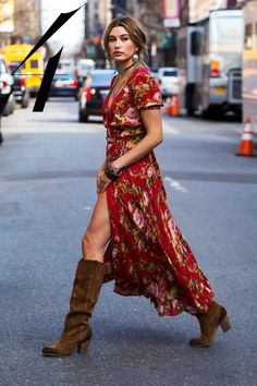 What:Denim & Supply Where:  In New York City Why: Baldwin embraces fashion's obsession with the '70s in a floral dress and slouchy suede boots.   - HarpersBAZAAR.com