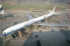 Vintage Aircraft Eastern Airlines undergoing final assembly at Long Beach. Aviation Image, Civil Aviation, Douglas Dc 8, Douglas Aircraft, Aviation Humor, Boeing 707, Airplane Photography, Passenger Aircraft, Air Festival