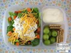 Mommy's lunch: Chicken salad over bed of lettuce, vanilla yogurt, grapes and wheat crackers