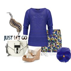 MAJESTY purple sweater, PANSY purple/yellow flowered shorts, DREW bracelet Etcetera Spring Collection