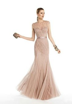 Blush bridesmaid dress mermaid style