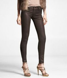 Less expensive coated jeans  STELLA COLORED COATED JEAN LEGGING - BROWN at Express