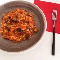 Jambalaya de berenjena Jambalaya, Ratatouille, Risotto, Curry, Cooking, Ethnic Recipes, Food, Dishes, Vegetable Gardening