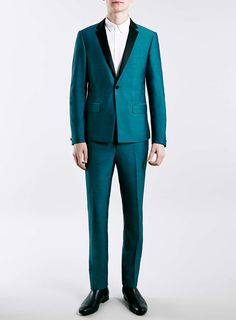 Teal Skinny Fit Tuxedo Trousers