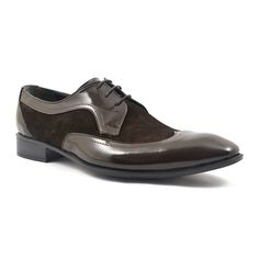 Decadent dark chocolate suede enveloped in patent silky leather. An original take on the derby. Patent Shoes, Men's Shoes, Dress Shoes, Derby Dress, Black Tie, Dark Brown, Oxford Shoes, Lace Up, Chocolate