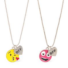 Girls Emoji 'BFF' Heart Charm Necklace