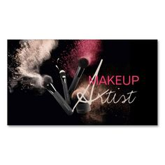 MakeUp Artist, Cosmetology, Salon Business Card. This great business card design is available for customization. All text style, colors, sizes can be modified to fit your needs. Just click the image to learn more!