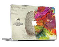Left Right Brain Creative Macbook Skin / Decal / door Rockyart, $15.99