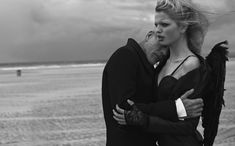 L'ange – Daphne Groeneveld dons a pair of wings for Peter Lindbergh's (2b Management) evocative story in Numéro #126. Starring alongside French actor Pascal Greggory, Daphne wears lingerie inspired looks chosen by fashion editor Irina Marie on a cloudy beach setting.