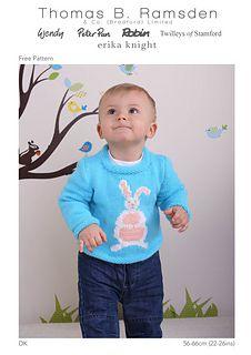 Ravelry: DK Bunny Sweater pattern by Thomas B. Ramsden & Co Knitting For Kids, Double Knitting, Knitting Yarn, Baby Knitting, Crochet Baby, Knit Crochet, Free Baby Stuff, Cute Babies, Knitwear