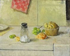 L. Anderson  Still Life with salt shaker, muffin and fruit, 1998
