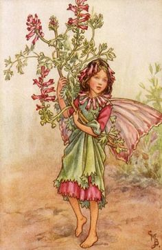 Pink and Green Flower Fairy Vintage Wall Art