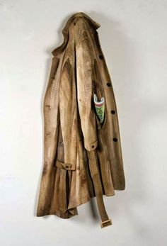 This is a raincoat carved from wood!