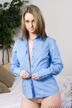 Sweet teen Crissy Snow in blue shirt removes her white panties and takes on cock Crissy Snow, Nubiles