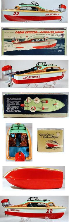 c.1955 Linemar, Cabin Cruiser with Outboard Motor in Original Box