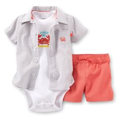 Carters Baby Boys 3 Piece Woven Shorts Set Baby  Beige  6 Months -- You can find out more details at the link of the image.Note:It is affiliate link to Amazon.