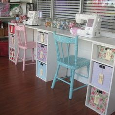 eclectic kids my vintage look sewing room - Cute painted polka dot chair. Might have to do that for my daughter in my sewing room.