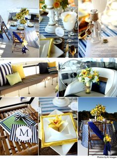Sail away with this sunset tablescape design in navy, white and gold by Tami Winn Events.  Photography by Kevin Jairaj with KJ Images.  #wedding #navy #white #nautical #yellow #sail #boat #design