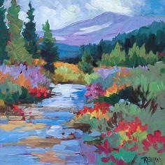 "Contemporary Artists of Colorado: Colorful Colorado Landscape Painting, ""Wildflowers on Weston Creek"", by Contemporary Colorado Artist Laura Reilly"