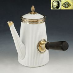 Rare-Antique-French-Sterling-Silver-Pillivuyt-Porcelain-Coffee-Pot-Teapot