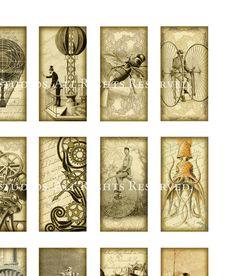 Hard-to-Find Victorian Steampunk Images - Kraken, Airships, etc. - 1x2 inch Domino Tiles - Digital Collage Sheet - Download and Print. $3.90, via Etsy.