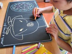 ideas on what activities to draw on chalk boards ; then follow to make chalk boards - http://pinterest.com/pin/248190629436318795/ , then mount onto cardboard; just don't get it wet.