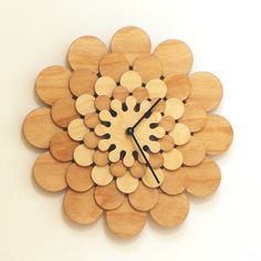 flower - handmade wooden wall clock in stock: $ 61