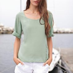 Kasbah Silk Top Mint Green