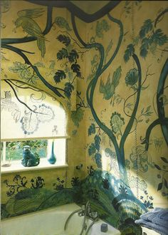 Tree of Life design by renowned artist Althea Wilson.I need a mural like this, I love how wild it feels and looks! Beautiful Interiors, Beautiful Homes, Life Design, Scandinavian Home, Wall Spaces, Living Spaces, Fabric Wallpaper, Wall Treatments, Decoration