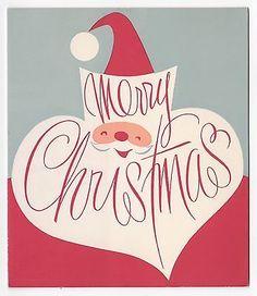 Vintage Greeting Card Christmas Santa Claus Mid-Century Illustration TV Allen LA