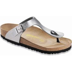 Birkenstock Women's Gizeh Silver Birko-Flor Thongs & Flip-Flops ($95) ❤ liked on Polyvore featuring shoes, sandals, flip flops, flat sandals, flats, flat thong sandals, birkenstock sandals, flat pumps, toe thongs and birkenstock flip flops