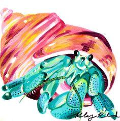 Hermit Crab Painting by Kelsey Rowland- original animal art crab art green… Beaver Drawing, Crab Painting, Crab Art, Hermit Crabs, Beach Art, Art Sketchbook, Animal Paintings, Painting Inspiration, Cute Drawings