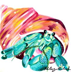 Long live this iconic Long Island Sound native, the hermit crab. Painting by Kelsey Rowland