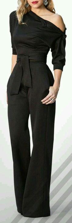 Black Slanted One Shoulder Wide Leg Formal Jumpsuit Source by modesheshop Look Fashion, Autumn Fashion, Fashion Outfits, Womens Fashion, Fashion Trends, Fashion Black, Dress Fashion, Mode Monochrome, Formal Jumpsuit