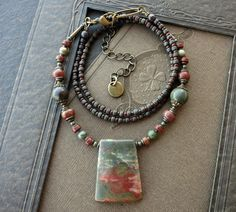 Slate Blue and Brick Red Picasso Jasper Pendant Necklace