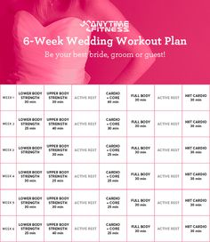 your 6 week wedding workout plan to have you toned and glowing for the big