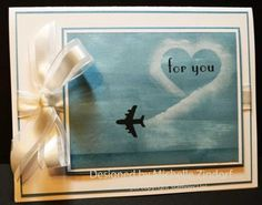 handmade love card ... airplane leaving a heart shaped trail in the sky ... luv Michelle Zendorf's creative cards!