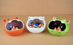 Plain Bisque Animal face design cut out sweet / treat Bowl  in earthenware ceramic.