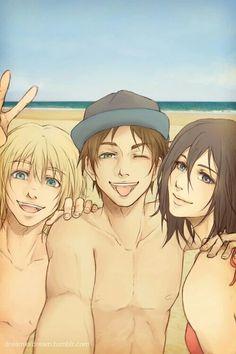 Armin, Eren, and Mikasa