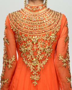 Orange Anarkali by Preeti S. Kapoor