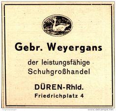 Original-Werbung/ Anzeige 1948 - SCHUH - GROSSHANDLUNG GEBRÜDER WEYERGANS / DÜREN - ca. 80 x 80 mm