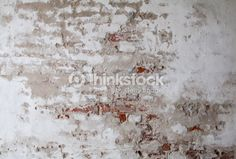 Stock Photo : Old Red Brick Wall with Cracked Concrete