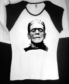 Frankenstein's Monster Baby Doll T w/ Black Cap Sleeves. $18.00, via Etsy...for my mom :)