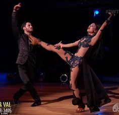 Viennese waltz: Janel Parrish and Val Chmerkovskiy performed a killer waltz