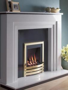 Flavel Windsor Contemporary HE Gas Fire Brick Fireplace Makeover, White Fireplace, Fireplace Remodel, Modern Fireplace, Fireplace Design, Fireplace Suites, Family Room Fireplace, Condo Living Room, Living Room Colors