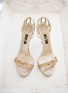 Gold beaded shoes by Giorgio Armani | Photography: Bryce Covey Photography - brycecoveyphotography.com Read More: http://www.stylemepretty.com/2014/09/18/destination-glam-haiku-mill-wedding-by-bryce-covey-photography/