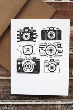 One Canoe Two's Vintage Camera Note Card was hand-drawn and printed using their antique letterpress. Perfect card for the photography buff. - Blank inside - A2 size (4.25 x 5.5 inches) - Printed on su