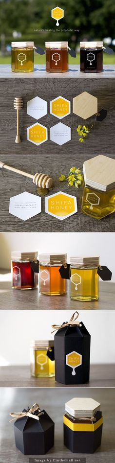 Shifa Honey packaging and logo design. I love the hexagon jars for honey packaging. It just makes sense.: