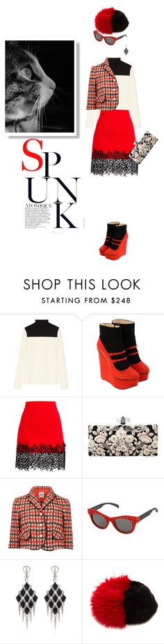 """Eye to eye"" by pensivepeacock ❤ liked on Polyvore featuring Proenza Schouler, Charlotte Olympia, Christopher Kane, Marchesa, Moschino Cheap & Chic, Italia Independent and Stephen Webster"